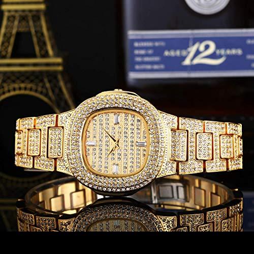 GYR Reloj de Mujer con Tachuelas de Diamantes, Brillante y Lleno de Reloj de Pulsera de Cuarzo de Diamantes gfh Gold