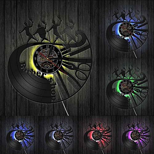 Decoración del hogar Herramientas de peluquería Reloj de Pared Peine Tijera Maquinilla de Afeitar Peluquero Reloj de Vinilo Reloj de peluquería Caballeros Reloj Decorativo Reloj de Pared