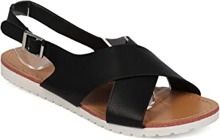 Women Leatherette Open Toe Criss Cross Slingback Sandal EF99 - Black