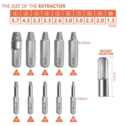Screw Extractor Tool, XOOL Screw Extractor Kit 22 Pieces, with Magnetic Extension Drill Holder Adapter, Used for Disconnecting Screws and Bolts
