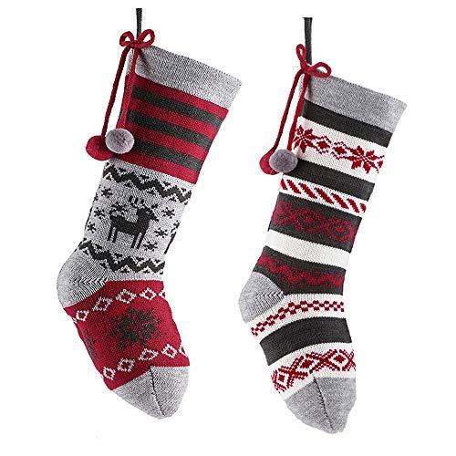 Valery Madelyn Weihnachtsstrümpfe 46cm Gestrickte Wolle 2er Set Weihnachtsstiefel zum Befüllen und Aufhängen Nordische Stimmung Thema für Weihnachten Deko - Rot GrauMEHRWEG Verpackung