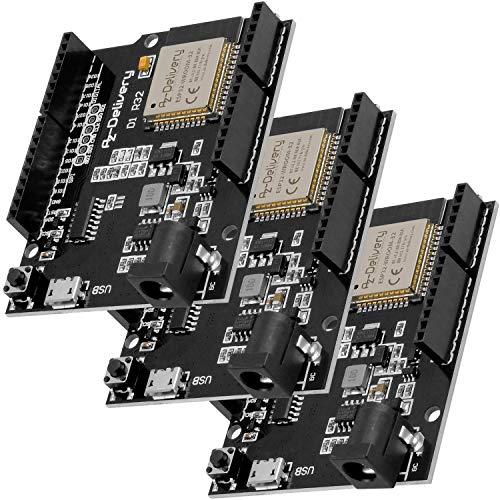 AZDelivery 3 pcs ESP32 D1 R32 Placa de Desarrollo con CH340G y WiFi + Bluetooth IoT con Micro USB compatible con Arduino