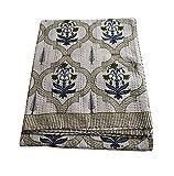 silkroude Indische Baumwoll-Tagesdecke, Kantha-Decke, handgefertigt, VIntage Quilts Überwurf, Kantha buntes Design, handgemachte Quilt, King Antik Kantha Quilt, 214 x 274 cm