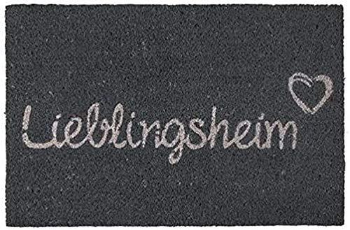 Bavaria Home Style Collection Voetmat - Deurmat - Voetmat - Vloermat - Voetmat - Deurmat - Motiefvoetmat - Kokos - Kokos mat - Kokosmat - Lieblingsheim - grijs