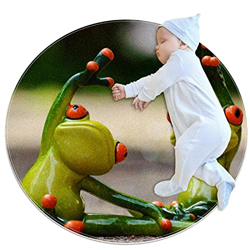 Round Soft Area Rugs 3Ft for Kids Baby Girls Teen's Room Circle Nursery Rug for Bedroom Living Room Home Decor, Two Frog Yoga
