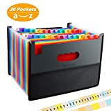 26 Pockets Accordian File Organizer, Expanding Filing Box with Mesh Bag,Accordion File Folders Expandable Cover,Portable Paper/Bill/Receipt/Document Organizer with 3 A-Z Alphabet Tabs(A4 Letter Size)