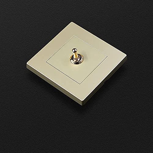PJDOOJAE Interruptor de palanca retro 86 Tipo Interruptor de palanca 10A220V Tipo 86 Interruptor oculto 1-4 GANG GAND 2 Vías Cambiar de palanca Retro Palanca de latón PC Panel blanco Interruptor de in