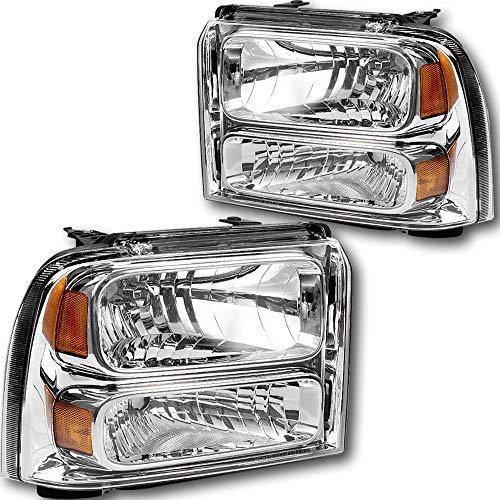 JSBOYAT Headlight Assembly Replacement for 2005-2007 Ford F250/F350/F450/F550 Super Duty 05 Ford Excursion Headlamp with Chrome Housing - Passenger and Driver Side