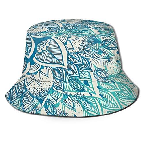 Lawenp Unisex Packable Bucket Cap Blauer Mandala-Blumendruck Sommer Atmungsaktives...