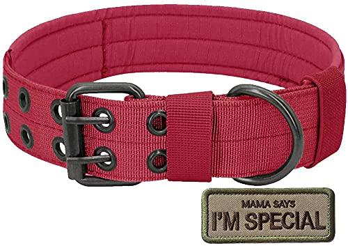 S.Lux Collares de Perro de Nylon, Anti-Desgaste Entrenamiento táctico al Aire Libre Cinturones de Perro de led Collar de Perros Grandes Negro Verde Marrón Collar para tu Perro (Rojo, XL)