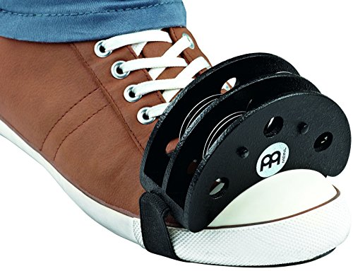 Meinl Percussion Foot Tambourine with Stainless Steel Jingles-NOT MADE IN CHINA-Accompaniment for Cajon Gigs, 2-YEAR WARRANTY, FJS2S-BK