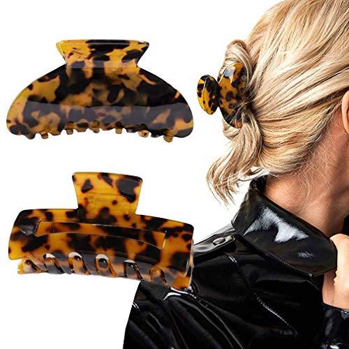 Runmi Haarklammern Schwarz Haarspangen Leopard Haarspangen Große Haarklammern Haarschmuck für Frauen und Mädchen (2 Stück)