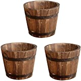 CosCosX 3 Pcs Rustic Wooden Bucket Flower...