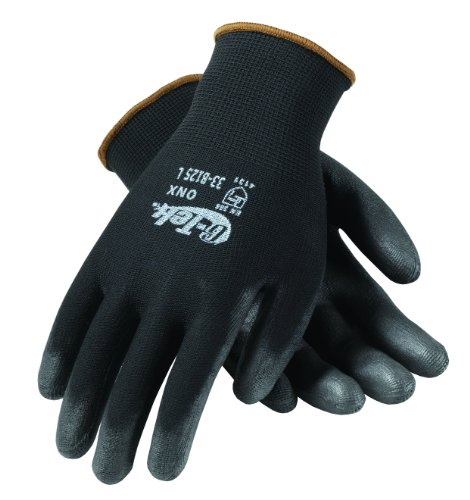 G-Tek 33-B125/XL ONX Seamless Knit Nylon Gloves with Polyurethane Coated Palm and Fingers, Black, X-Large, 1-Dozen