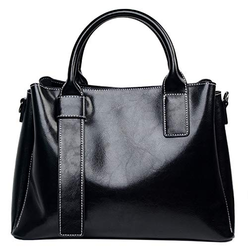 Genuine Leather Satchel Purses and Handbags for Women Shoulder Tote Bags Top Handle Handbags (Oil-waxed Black)