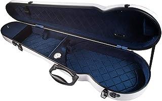 4/4バイオリンケース,Benkeg 湿度計ストラップ付き4/4フルサイズポータブルグラスファイバーバイオリンケーストライアングル形状軽量ハードシェル収納バッグボックス