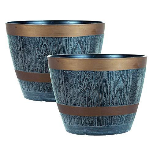 Rustic Style Dark Grey Plastic Half Barrel Cask Planters 28.5cm Diameter - Set of 2 - Indoor & Outdoor Flower/Plant Pot.