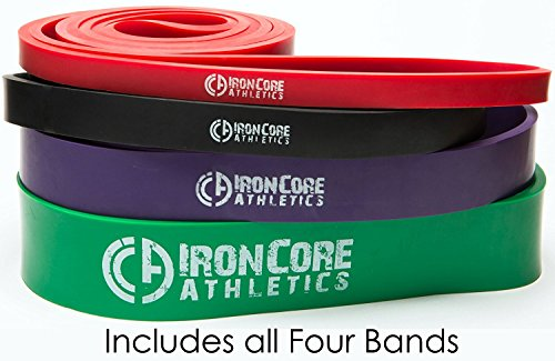 Iron Core Athletics Pull-Up Assistance Bands - Set of 4 Assisted Pull Up Bands - #2 Red, 3 Black, 4 Purple, 5 Green – Provides 10 – 285lbs Resistance/Assistance