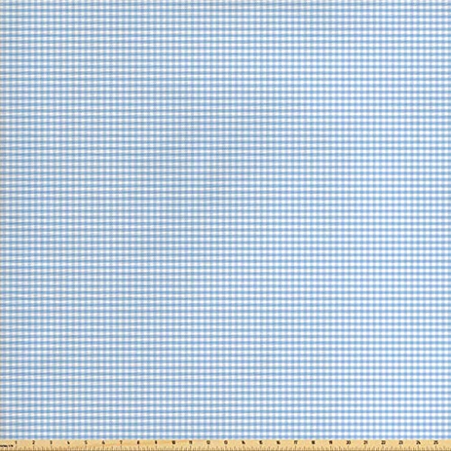 Ambesonne Checkered Fabric by The Yard, Little Squares and Stripes Pastel Color Gingham Repeating Rows Vintage Tile, Decorative Fabric for Upholstery and Home Accents, 3 Yards, Pale Blue White