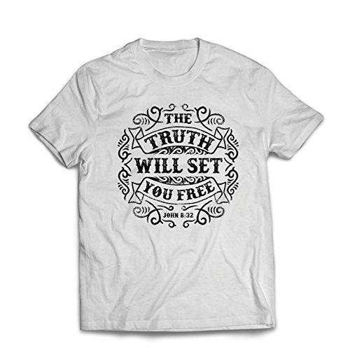 lepni.me Camisetas Hombre La Verdad te hará Libre, la Prueba de fe, la resurrección Cristiana (Large Blanco Multicolor)