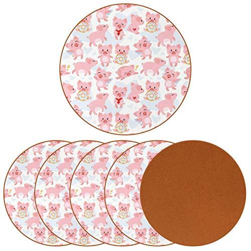 Bennigiry Lindos Cerdos en Diferentes Poses de Cuero Tapetes Redondos Resistentes al Calor para Tazas Taza de café Tapetes Individuales para Tazas de Vidrio, 6 Piezas