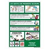 Panneau - Gestes De Premiers Secours - Plastique Rigide PVC 1,5 mm - Dimensions 300 x 420 mm - Double Face Autocollant Au Dos - Protection Anti-UV