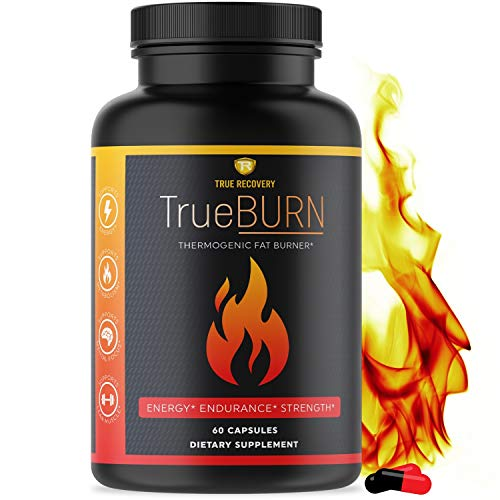 True Recovery TrueBURN Thermogenic Fat Burner & Appetite Suppressant Weight Loss Supplement with Yohimbe Bark, Green Tea Extract + EGCG and Raspberry Ketones - 60 Weight Loss Pills for Men and Women