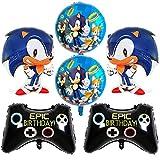 Sonic Foil Globos, Sonic Decoración para Fiestas de Cumpleaños Sonic The Hedgehog Party Supplies Juego de Decoración Sonic Erizo Frustrar Globo Set para Fiestas de Cumpleaños