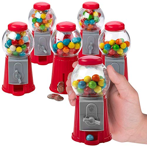 Kicko 5 Inch Gumball Machine  6 Pieces Classic Candy Dispenser  Perfect for Birthdays Kiddie Parties Christmas Novelties Kitchen Dessert Buffet Party Favor and Supplies