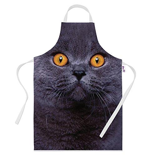 Tablier de cuisine imprimé pour femme - Motif chat britannique court - Idée cadeau