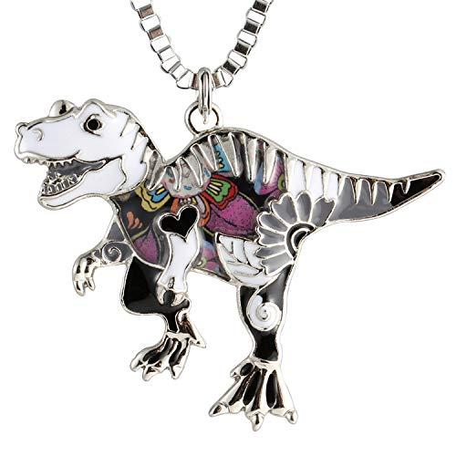 Luckeyui Unique Dinosaur Necklaces & Pendants Gift for Women Girls Black Enamel Tyrannosaurus Rex Jewelry
