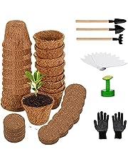 Herefun Kit de Macetas Biodegradables, Semilleros de Germinacion con Etiquetas & Herramientas de Jardinería, Macetas de Fibra, Macetas de Semillas para Plantas Plántulas Trasplantes (B)