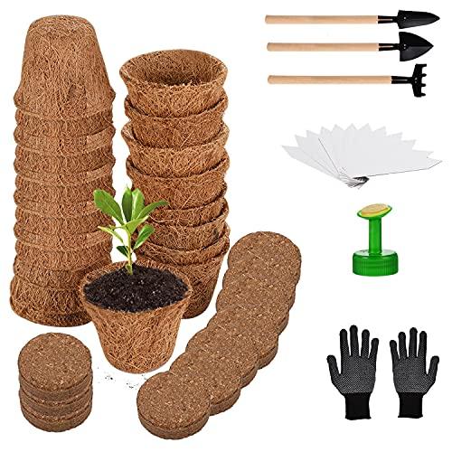 Herefun Kit de Macetas Biodegradables, Semilleros de Germinacion con Etiquetas & Herramientas de Jardinería, Macetas de Fibra, Macetas de Semillas para Plantas Plántulas Trasplantes (A)