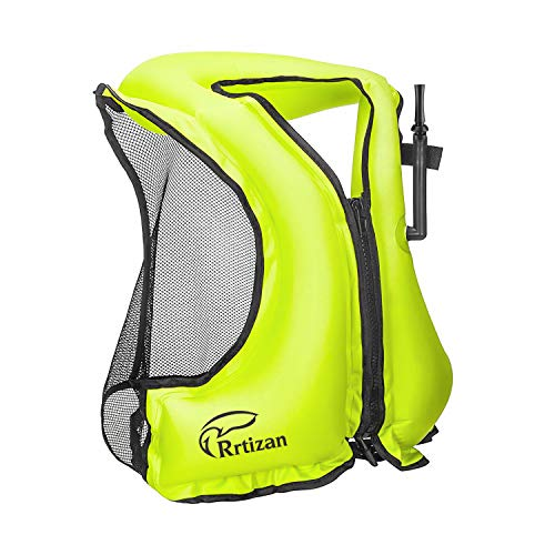 Rrtizan Snorkel Vest - Inflatable Swim Vest for Adults - Swimming Life Jacket for Snorkeling Paddle-Boarding and Other Low Impact Water Sports, Suitable for 80-220lbs(Green, M-L)