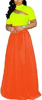 Doufine Women Swing High Waist Casual Chiffon Flowy Long Skirt