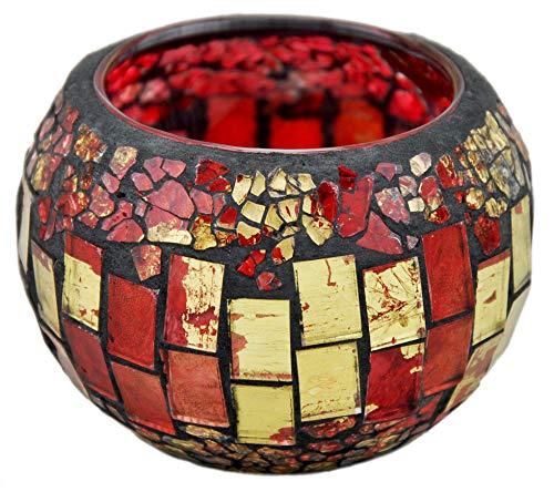 Windlicht / Teelicht Glas Mosaik rund - rot 9x6cm