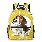 Alvaradod Sac à dos pour ordinateur portable de voyage,brun drôle chiot Beagle dans le collier sur jaune rouge adorable dessin animé de race animale,sac à dos antivol résistant à l'eau d'affaires