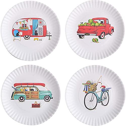 One Hundered 80 Degrees Summertime 9' Melamine Plates, Set of 4