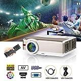 EUG Proyector LED con 5000 lúmenes WXGA HD 1080p con doble HDMI, USB VGA...