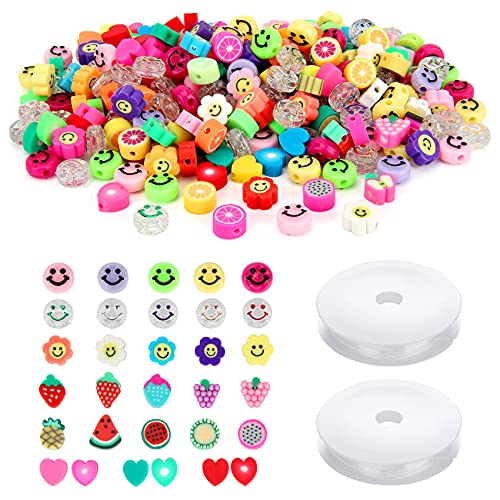 300 Pcs Smiley Face Beads Mixed Fruit Love Heart Shape Color Polymer Clay Beads...