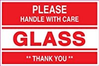 Ace Label 23012F 2 in. x 3 in. Please Handle With Care Glass Thank You