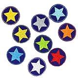 Flicken Stern Set 9 mini Bügelflicken Neon Sternchen ø 3,5 cm Aufbügler bunte kleine Patches Hosenflicken auf blau Aufbügelflicken