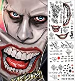 2 pcs Temporary Tattoos Full Body Bundle Suicide Squad Joker Cosplay Temporary Tattoo Sticker Halloween Props Costume Cosplay Party Accessories