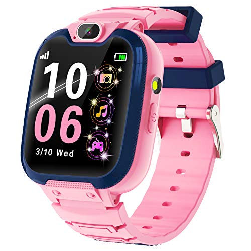 Kids Smart Watch for Boys Girls-Kids Phone Smartwatch with Calls 14 Games S0S Camera Video Music Player Clock Calculator Flashlight Touch Screen Children Smart Watch Gifts for Kids Age 4-12 (Pink)