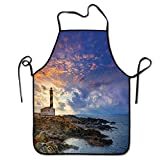 Not Applicable Delantal de decoración de Faro para camareras Cap de Favaritx Sunset Lighthouse Cape en Mahón en Las Islas Baleares de España Delantal costero
