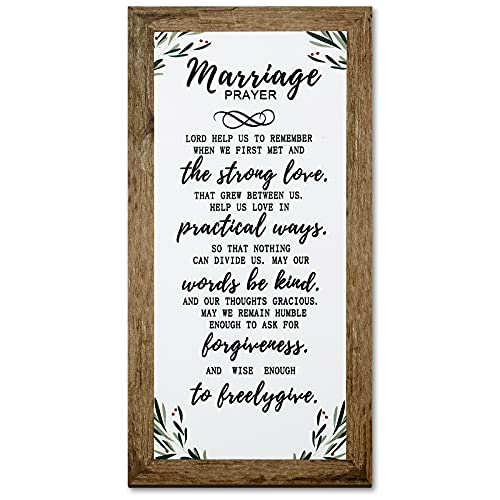Marriage Prayer Wood Plaque Inspiring Quote 5.5 x 12 inches Classy Vertical Frame Wall Hanging Decoration, Lord Help us to Remember When we First met Christian Family Religious Home Decoration Saying