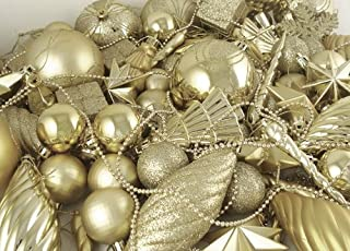 125-Piece Club Pack of Shatterproof Champagne Gold Christmas Ornaments