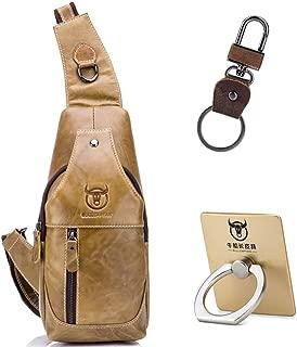 BKROOM Men's Leather Sling Bag, Multipurpose Daypack Shoulder Chest Crossbody Bag, Genuine Leather Chest Shoulder Backpack