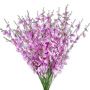 """EREFAS Artificial Orchids Flowers 10 Pcs Faux Dancing Lady Orchids Silk Flowers 36"""" Long Stem Length Adjustable Romantic Decoration for Home Office Festive Party"""