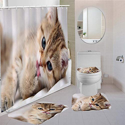 ZDDWLDL Duschvorhang-Set Graubraune Tierkatze Badezimmerteppich-Set 3D Gedruckter Duschvorhang Polyester Wasserdicht rutschfest Badvorleger WC-Deckelbezug 180x180 cm